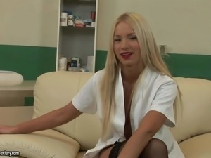 Hot blonde porn star Kiara Lord gives interview in behind the scenes and...