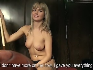 Sexy girl gets offered cash to get naked for the camera. She makes a strip...