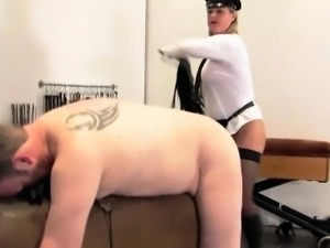 Police domina flogging unimportant sub