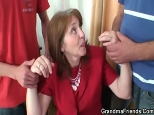 Hot granny threesome in the office free