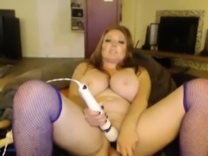 Busty redhead in blue stockings mega tits bouncing