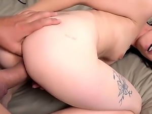 Petite slut with an awesome body, Joanna Black is going to take that big cock...