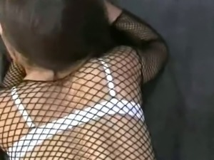 Naughty brunette giving head then fucked