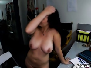 Chicana Holly West gets throat banged by mans throbbing sausage