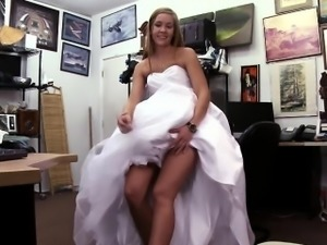 Sexy blonde bride walks in to get her pussy hammered