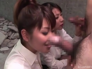 clothed japanese sluts suck on cock