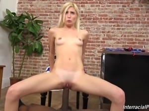 White girl Piper suck and fuck BBC at casting
