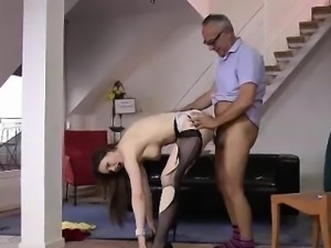 Older British dude fucking sluts in torn stockings