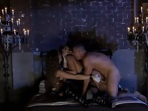 Alektra Blue and Tori Black are in a threesome with a guy in a dungeon that...