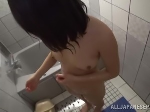 sexy jap babe sucks a big dick in the bathroom
