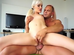 Brenda Starlix and  Nacho Vidal are having anal sex on the chair. The blonde...