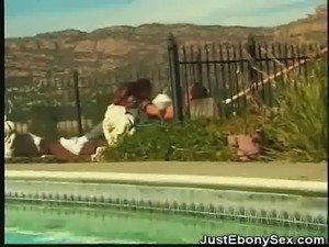 Ebony Poolside Blowjobs And Fucking