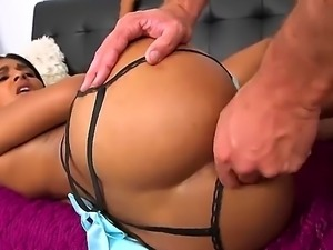 Cute black girl has her lingerie on. It does not cover her ass, so the guy...