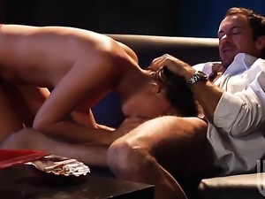 Tori Black shows her oral skills in blowjob action with horny fellow