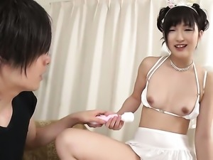 Teen Maria Kotobuki with small boobs and smooth muff touching her love hole