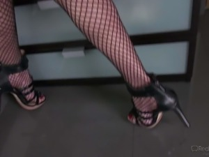 Gorgeous asian babe Jayden Lee in fishnet stockings and stilettos takes off...