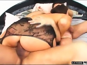 Big breasted brunette in black lingerie gets nailed rough by two studs