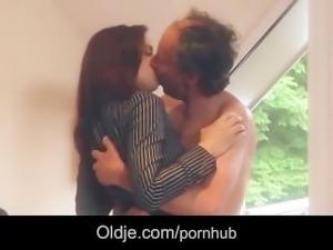 Old Grandpa fucks Gina Gerson and her girlfriend in hardcore threesome