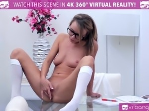 VR Bangers HORNY Pristine Edge touching PUSSY while studying
