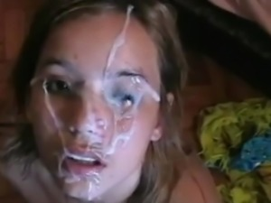 Cute girl gets a messy facial