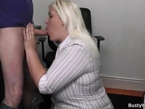 Boss fucks blonde plumper