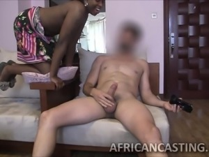 white guy tests the sucking skills of an african babe