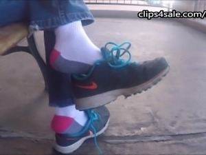 Shoe play with socks foot fetish with sexy Latina in public