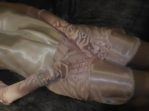 Amazing shiny satin panty sex, satin gloves and nylon