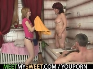 Cutie involved into a step family threesome