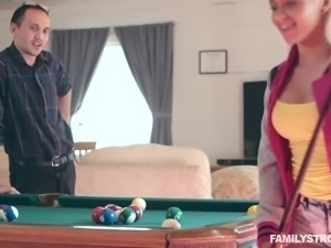 It started off as an innocent game of billiards, but her pervert stepdad way...