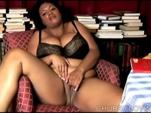 Big belly, boobs & booty black BBW plays with her fat pussy