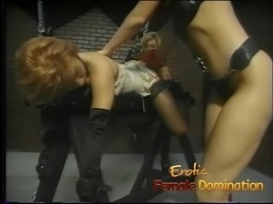 Really sexy mistresses have fun playing with their slave