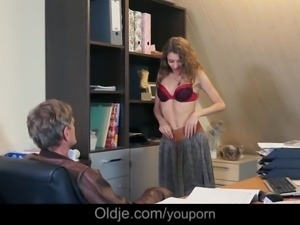 Young secretary facial cumshot blackmail for married old boss