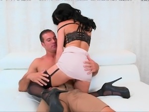 Adorable babe with amusing glamour fucks well