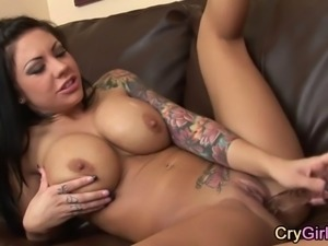 big tits biker babe that looks so tough has to cry after her most intense...