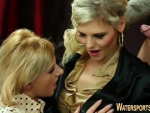 Threeway babes pee soaked