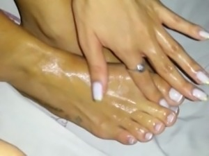 Oiled Footjob with Bocage and Mah