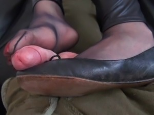 Smelly Shoes & Nylons Footjob Slow Motion Version Cum Scene
