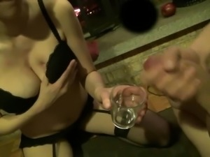 Girlfriend drinks cum out of a glass