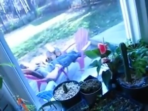 Cheating girl sucks while boyfriend relax outside