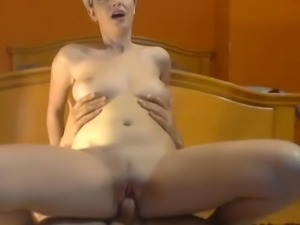 Babe big tits sucking and riding BFs big cock