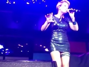 Michelle Tanja Hewer Black Mini Monster Upskirts Stage MILF