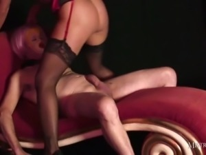 Mistress Carly fucks real sexdoll then makes him lick pussy