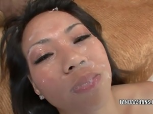Asian hottie Miley Villa gets her tiny twat fucked hard