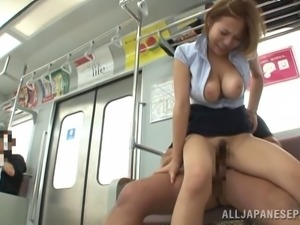 Marvelous Japanese doll stimulated as her hairy pussy gets licked before...