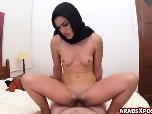 Muslim arab woman cries out loud as she rides a massive cock
