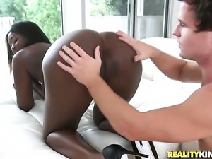 Super sexy black gal Robby Echo with round butt and hairless pussy knows no...