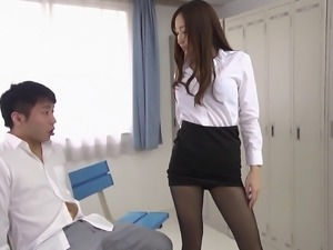 Asian pantyhose babe rubs her body all over him