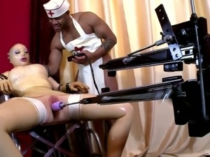 Kinky fetish flick of a guy using a fuck machine on a sex doll