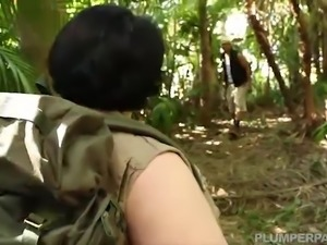 Teen Super Busty BBW is lost in wood and fucked by stranger